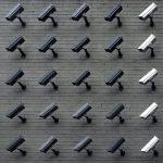 Wall of surveillance cameras