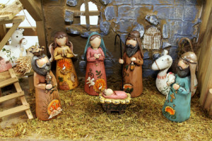 Christmas nativity scene of the birth of Jesus depicted with figurines