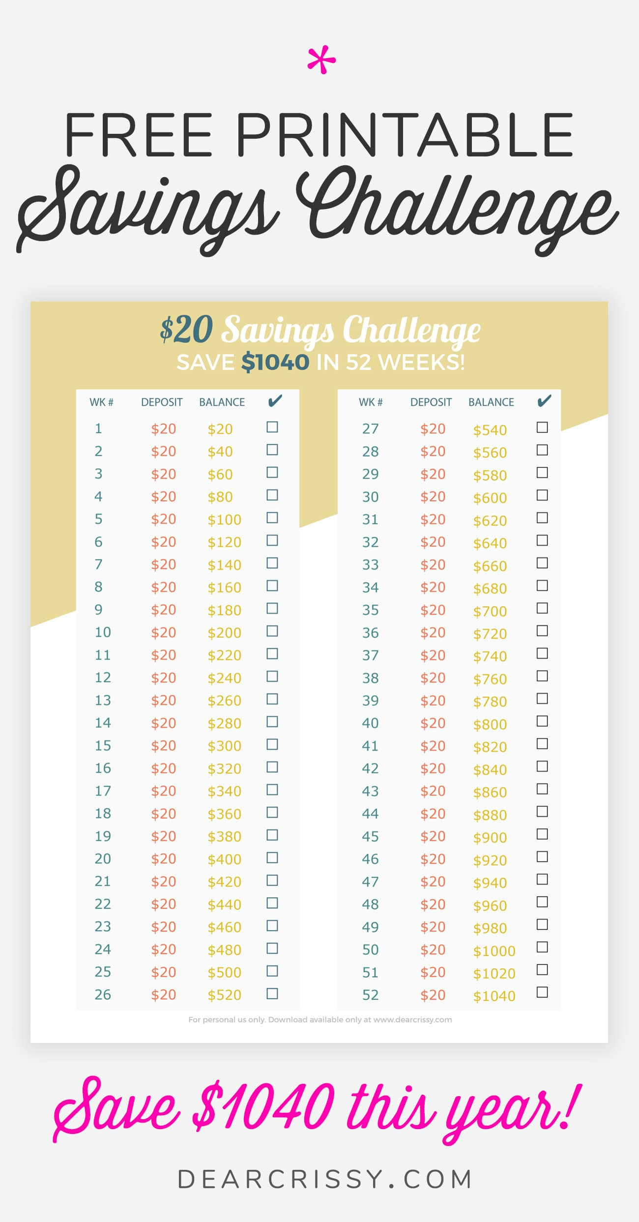 Money Savings Challenge Printable 20