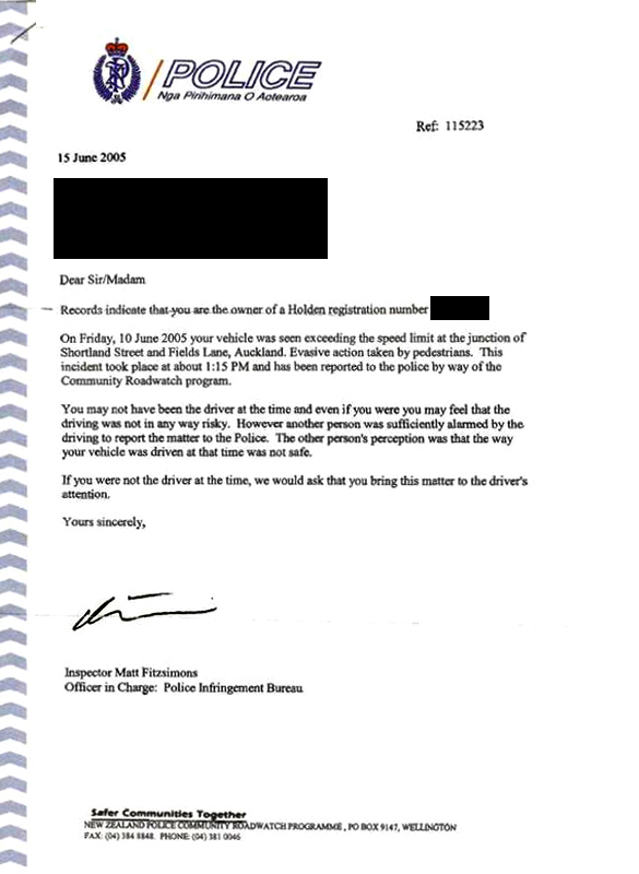 New Zealand Police letter 1