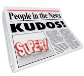 People in the News words and Kudos headline as praise and good a