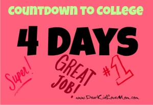 Countdown to college dorm move in