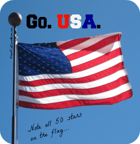 US flag with all 50 stars. Go USA DearKidLoveMom.com