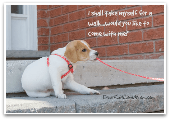 i shall take myself for a walk...would you like to accompany me? DearKidLoveMom.com