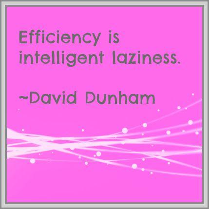 Efficiency is intelligent laziness. David Dunham. DearKidLoveMom.com