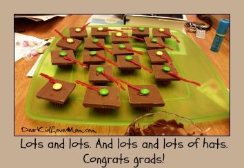 Chocolate Mortar Boards. Eat and Enjoy. Happy Graduation! DearKidLoveMom.com