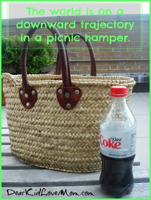 The world is on a downward trajectory in a picnic hamper. DearKidLoveMom.com