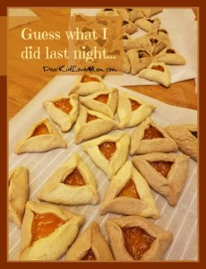 So this year, I made hamentashen with regular dough and some with cinnamon dough. And I made some with apricot filling, some with a raisin-brandy filling, and some with buckeye filling. DearKidLoveMom.com