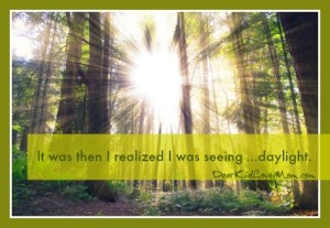 It was at that moment I realized what I was seeing—daylight. As in longer days plus Daylight Saving Time. Actual light from the heavens. I was so excited I almost rolled around on the ground like a happy puppy. DearKidLoveMom.com