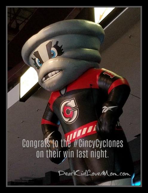 Congrats to the #CincyCyclones on their win last night. DearKidLoveMom.com