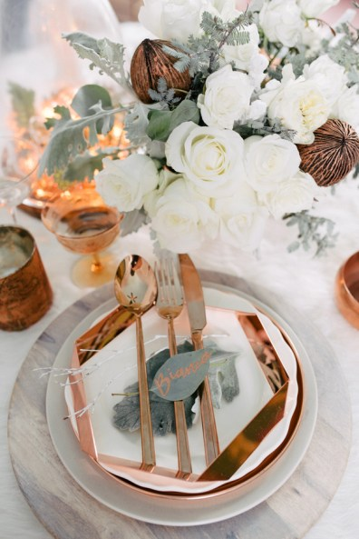Ruffled - photo by Singler Photography http://ruffledblog.com/white-and-copper-winter-wedding