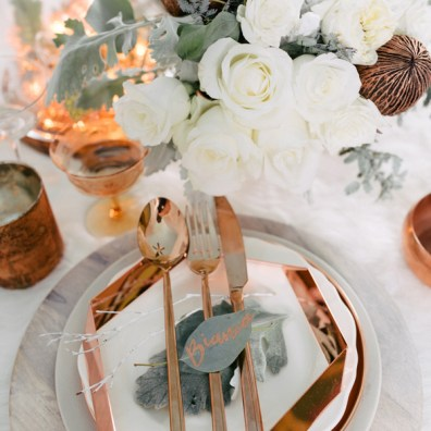 Ruffled - photo by Singler Photography http://ruffledblog.com/white-and-copper-winter-wedding