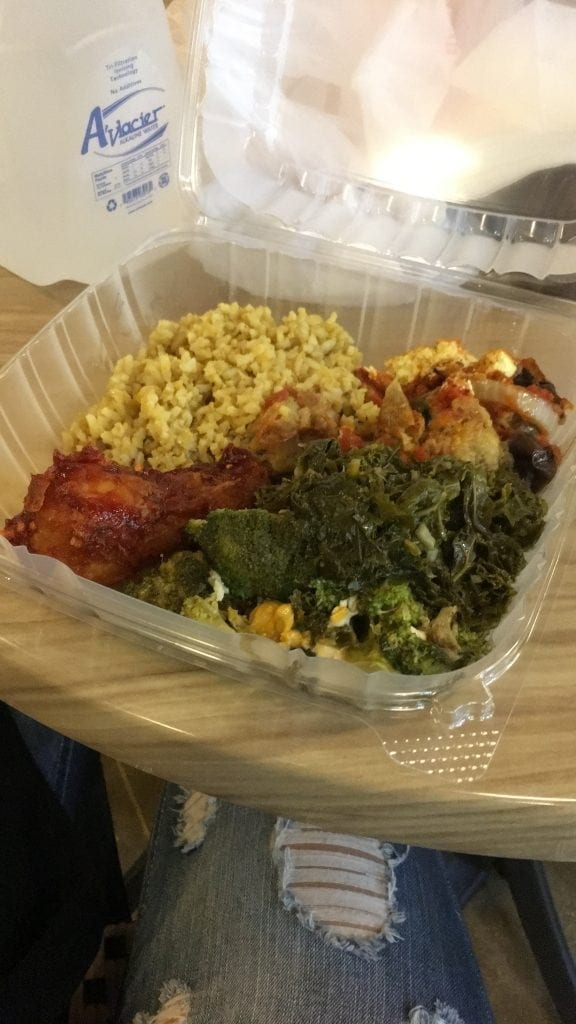 Vegan lunch from Vegan Now at the Metra Market in Downtown Chicago