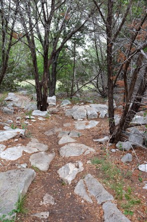 Limestone debris along the trail