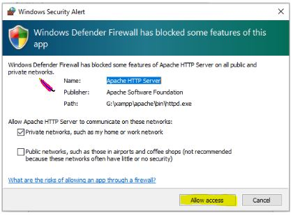 Windows Firewall Security Message