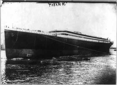 RMS Titanic without her funnels, after the launch
