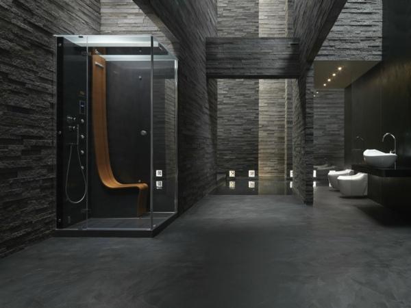Ein Luxusgefhl Herrscht Im Schwarzen Badezimmer Design
