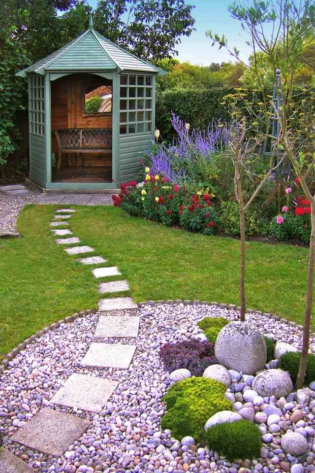 Front garden designs with pebbles. asian inspired lakefront ...