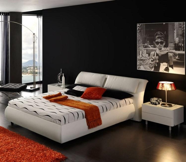 zimmer streichen ideen schlafzimmer modern schwarz wand weiss bett