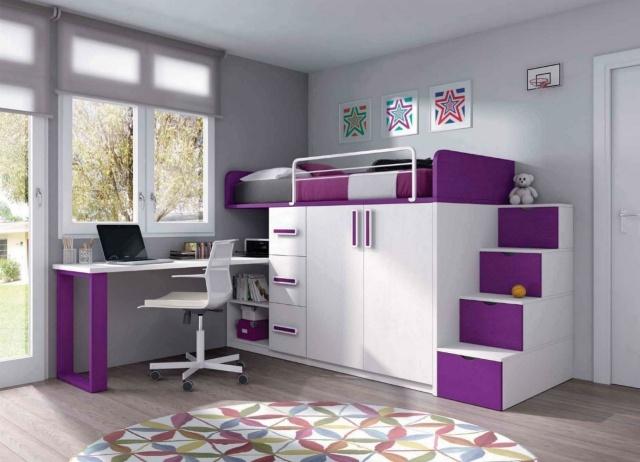 Modernes Kinderzimmer Maedchen Weiss Lila Moebel Hochbett Stauraum
