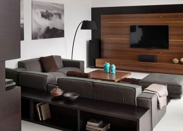 wohnzimmer in grau und schwarz