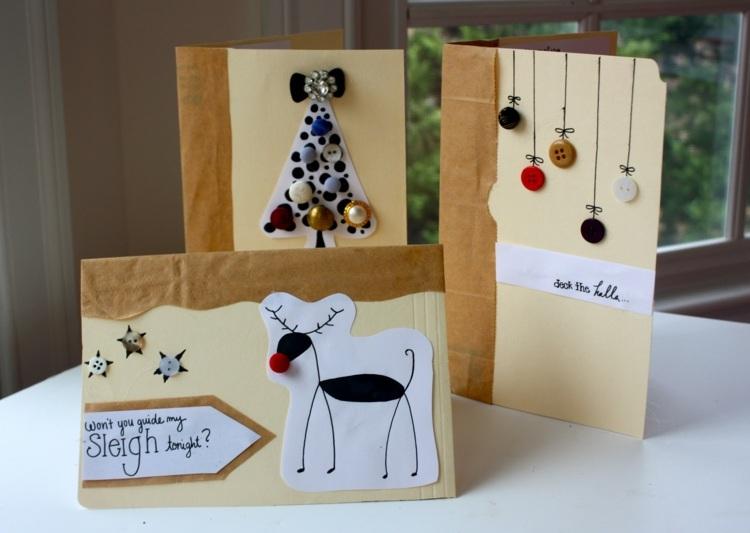 Weihnachtskarten Selber Basteln Mit Knpfen 28 Tolle Ideen