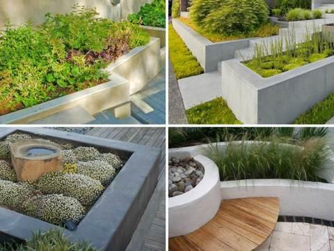 moderne gärten gestalten pflanzkübel aus beton für hochbeete & moderne gartengestaltungen