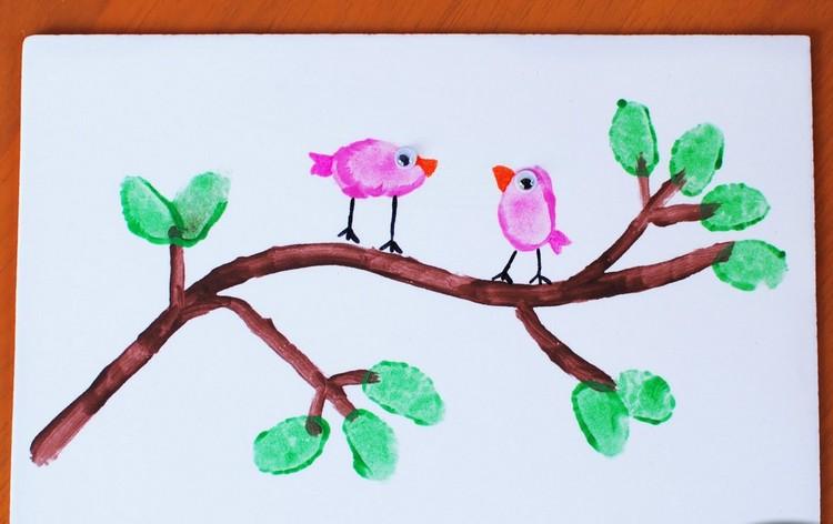 Flamingo Bild Mit Fingerfarbe Bastelidee Rayher