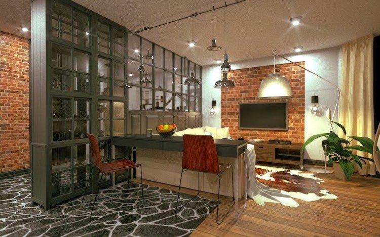 Offene Küche vom Wohnzimmer abtrennen: Trennwände im Industrie-Look