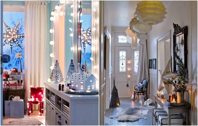 Flur weihnachtlich dekorieren mit Lichterketten und Kerzen