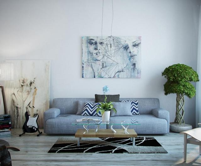 art dans le salon moderne