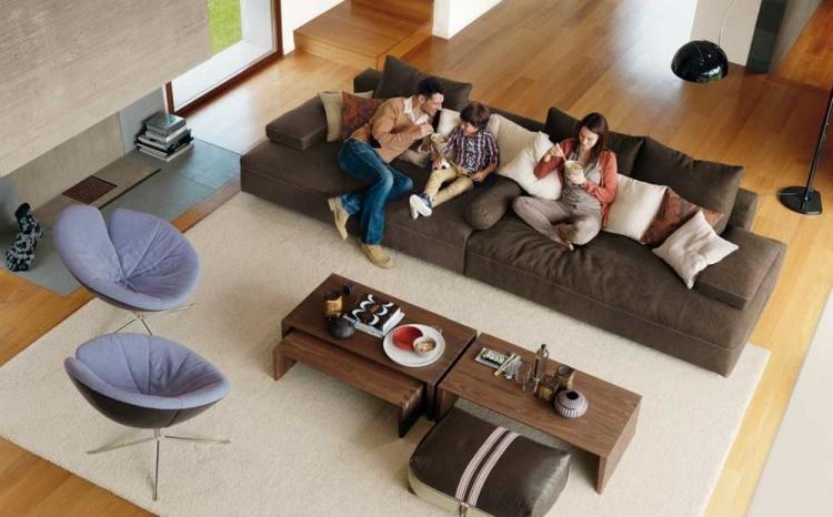 meuble de salon fauteuils table basse rectangulaire bois meubles de salon moderne 35