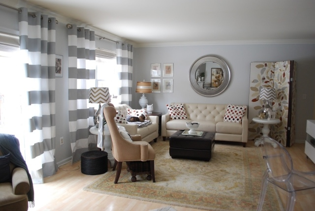peinture salon rideaux blanc gris murs gris clair peinture