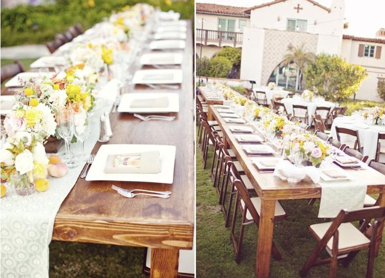 decoration table mariage rectangulaire de style champetre ou vintage deco de fete 9 20