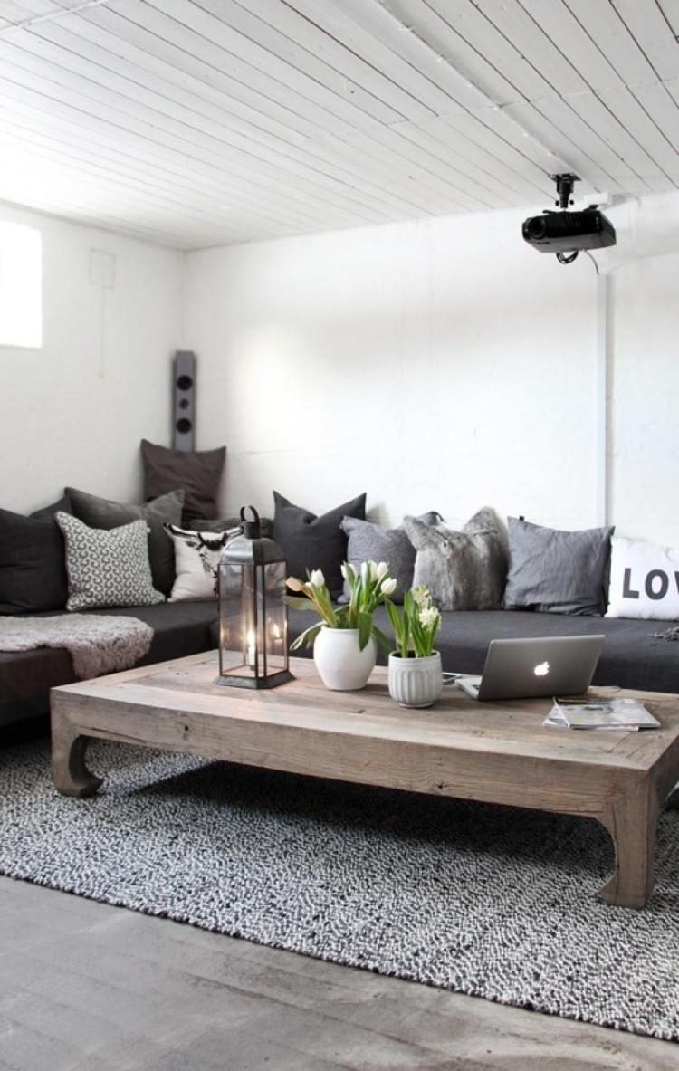 salon contemporain de style rustique en