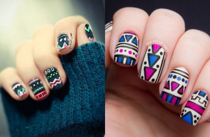 nail-art motif aztèque base-blanche-couleur-rose-bleu