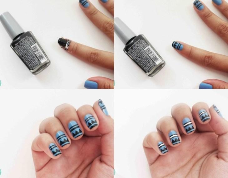 nail-art-motif-azteque-couleur-bleue-noire