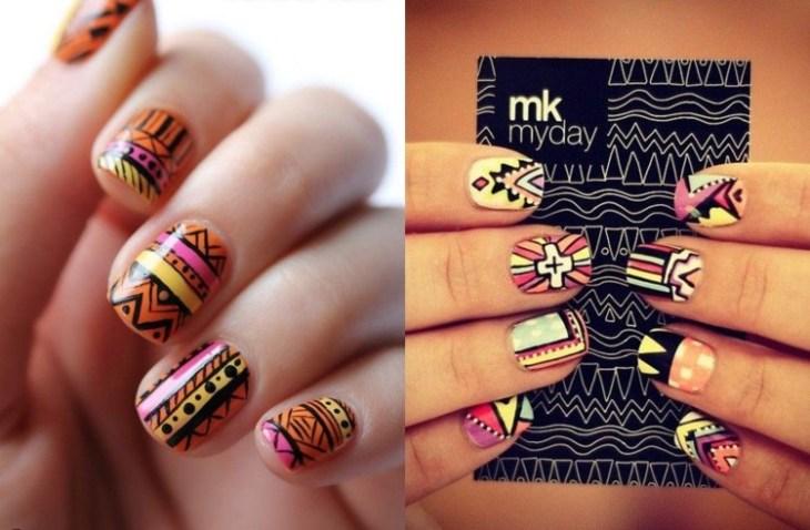 nail-art-motif-azteque-couleur-jaune-rose-orange