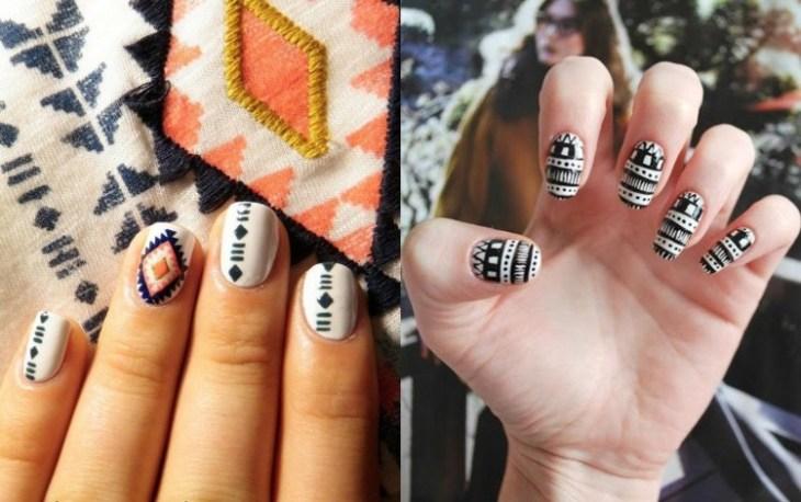 nail-art-motif-azteque-couleur-noire-base-blanche