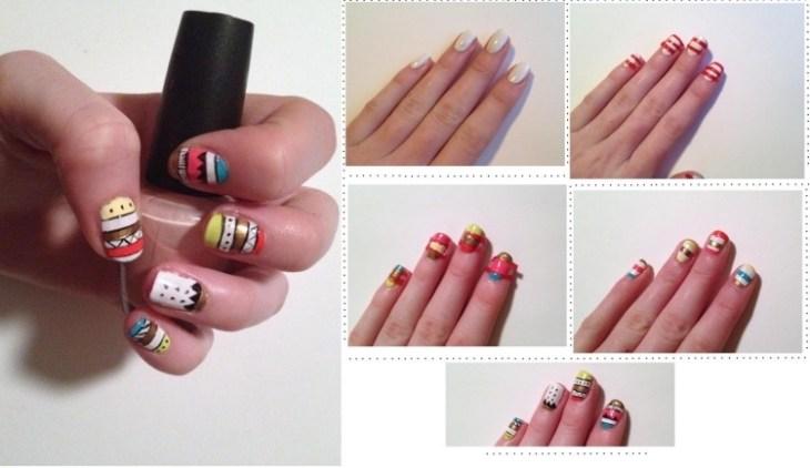 nail-art-motif-azteque-couleur-paillette-jaune-blanc