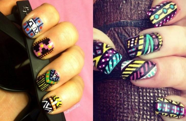 nail-art-motif-azteque-couleur-vert-turquoise-violet