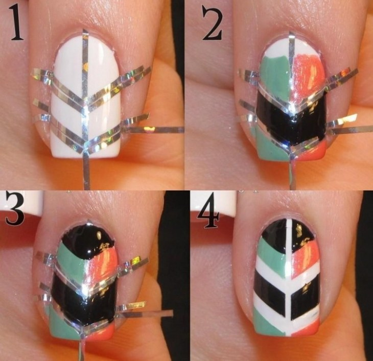 nail-art-motif-azteque-striping-tape-argente