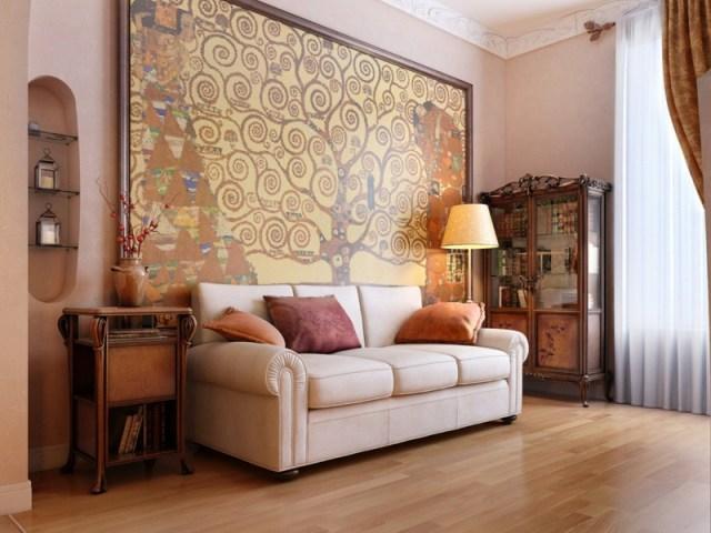 decoration-salon-grand-tableau-arbre-canapé-droit-blanc-coussins-orange-pourpre-table-appoint-buffet-vintage