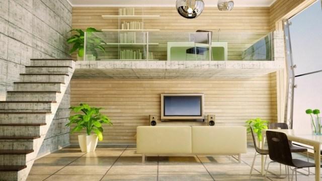 decoration-salon-plantes-vertes-escalier-droit-béton-lambris-mural-bois décoration de salon