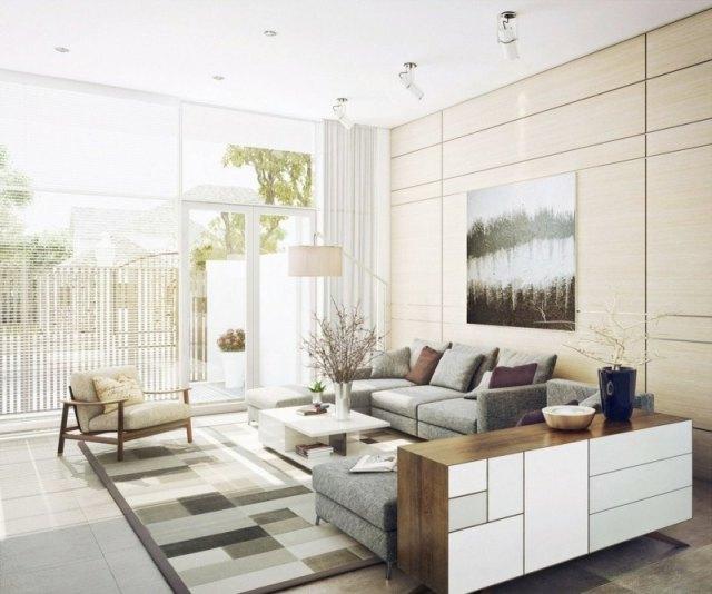 decoration-salon-tapis-motifs-géométriques-beige-gris-tableau-paysage-canapé-gris-commode-moderne