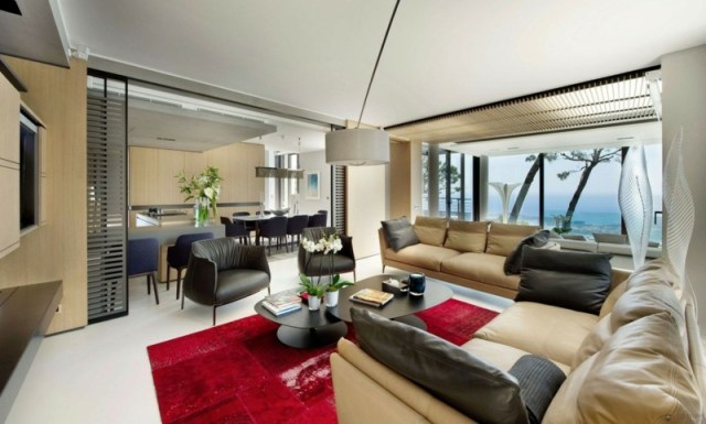 decoration-salon-tapis-rouge-accent-salon-meubles-beige-noir