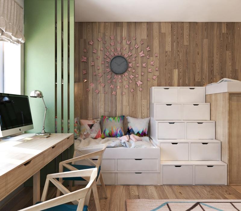Lambris Mural Et Plancher Assorti Dans Une Aire Ouverte