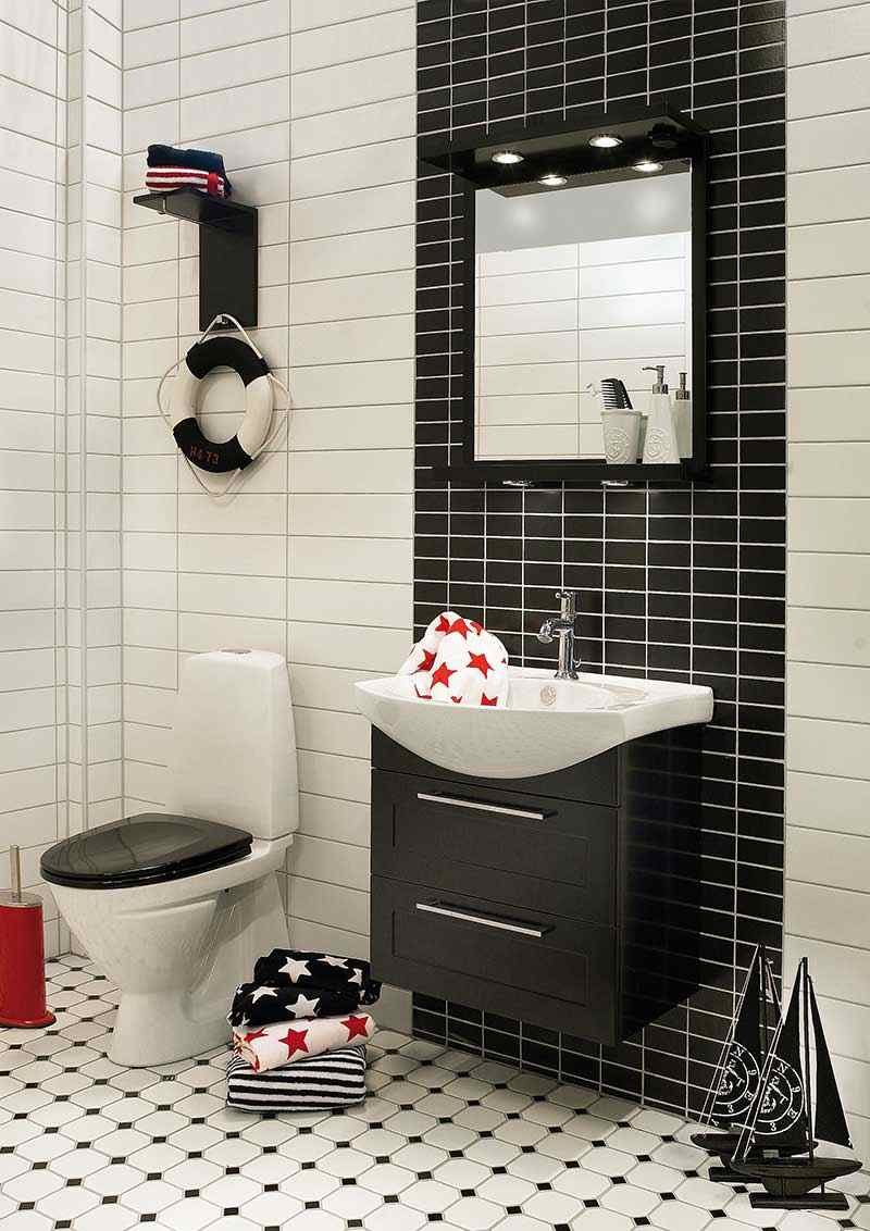 carrelage salle de bain noir et blanc