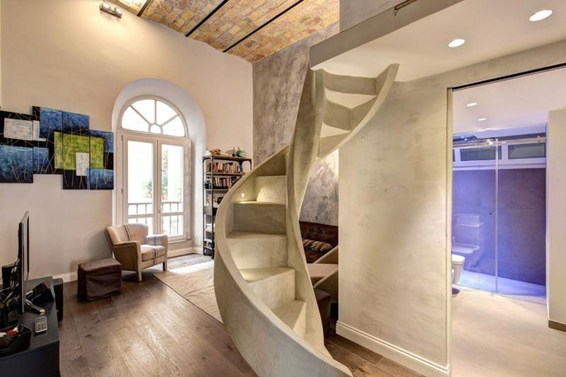 Enduit La Chaux Moderne Taupe Et Plafond Pierre Dans Un Loft