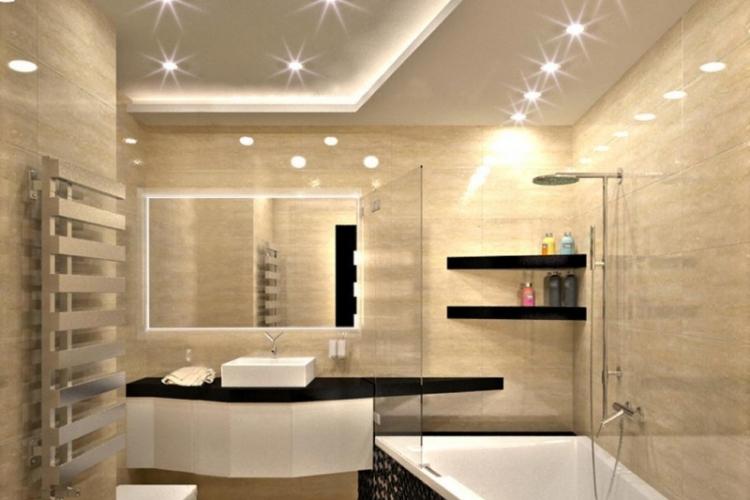salle de bain travertin et bois